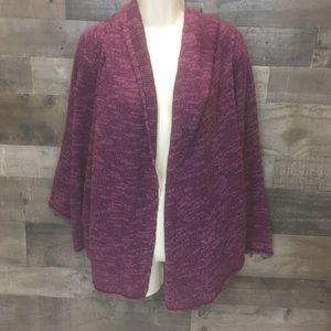 Eileen Fisher 3x Purple Cardigan sweater with hood